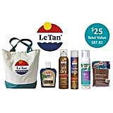 Le Tan Showbag ($25) Includes:  Beach Bag  Le Tan Self Tanning Foam  Le Tan Flawless Legs