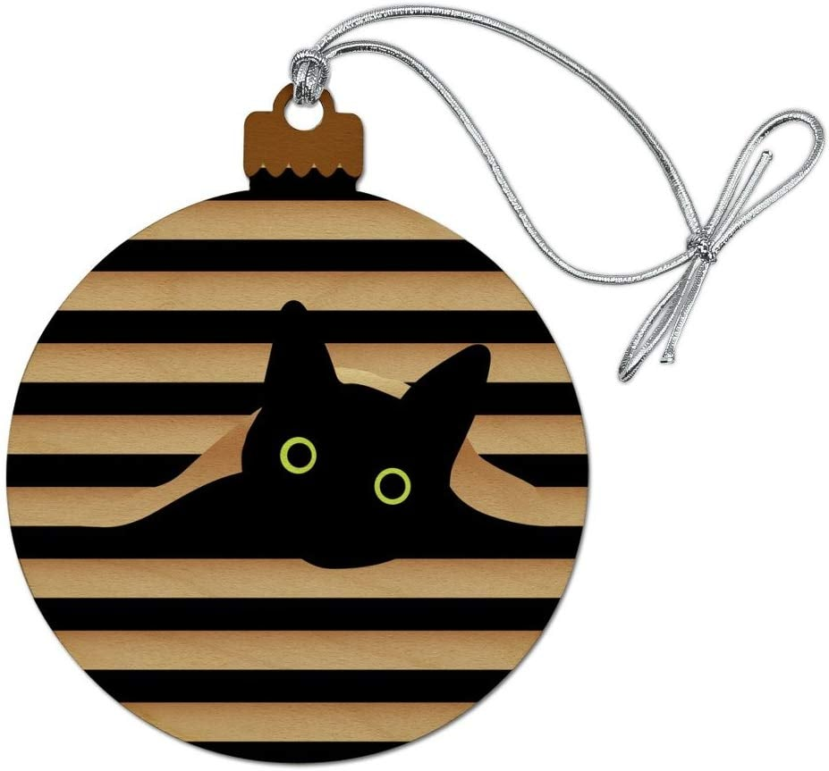 Christmas Tree Made Of Black Cats: Black Cat In Window Holiday Ornament