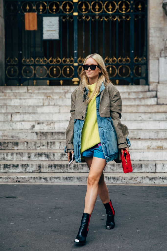 Style your shorts and denim jacket with a neon top for a pop of color.