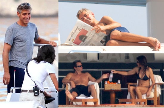 Photos of George Clooney, Cindy Crawford in a Bikini, Rande Gerber On a Yacht in South of France