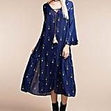 Blue Cactus V-Neck Shift Dress