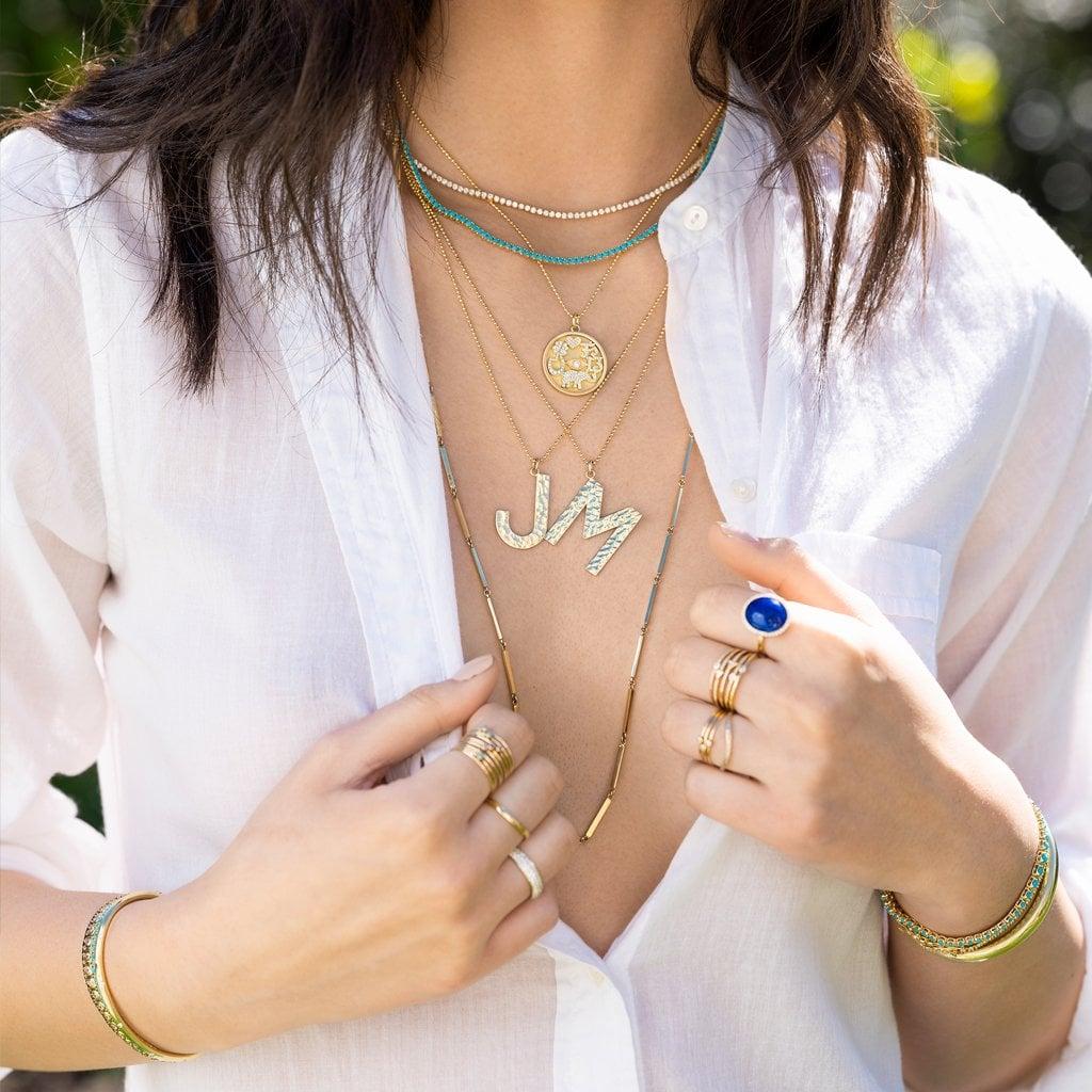 Jennifer Meyer Hammered Letter Necklace