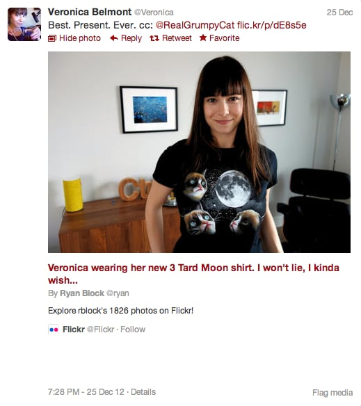We wanted this Grumpy Cat Moon Shirt for ourselves, modeled here by Tekzilla's Veronica Belmont, but to no avail — it was already sold out.