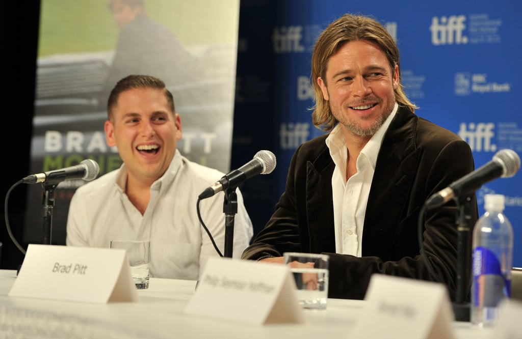 Brad Pitt and Jonah Hill laughed in Toronto.