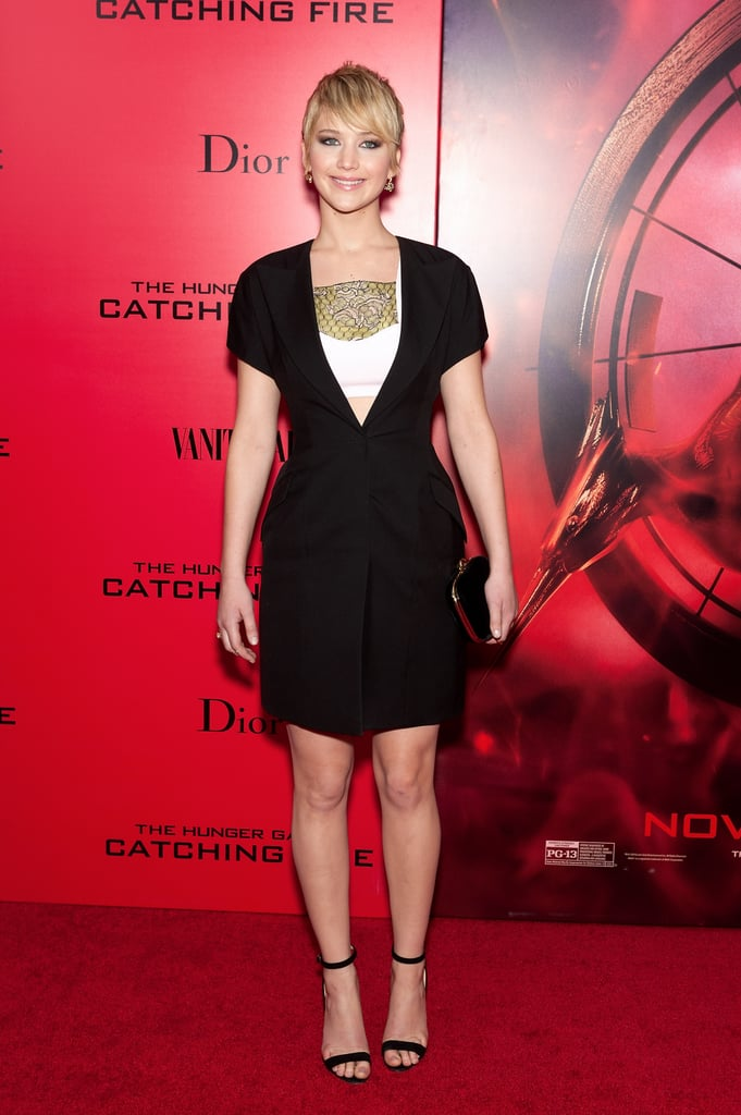 Jennifer Lawrence gave new meaning to the term LBD when she wore this Dior mini-dress and Dior jewellery to The Hunger Games: Catching Fire's premiere in New York City.