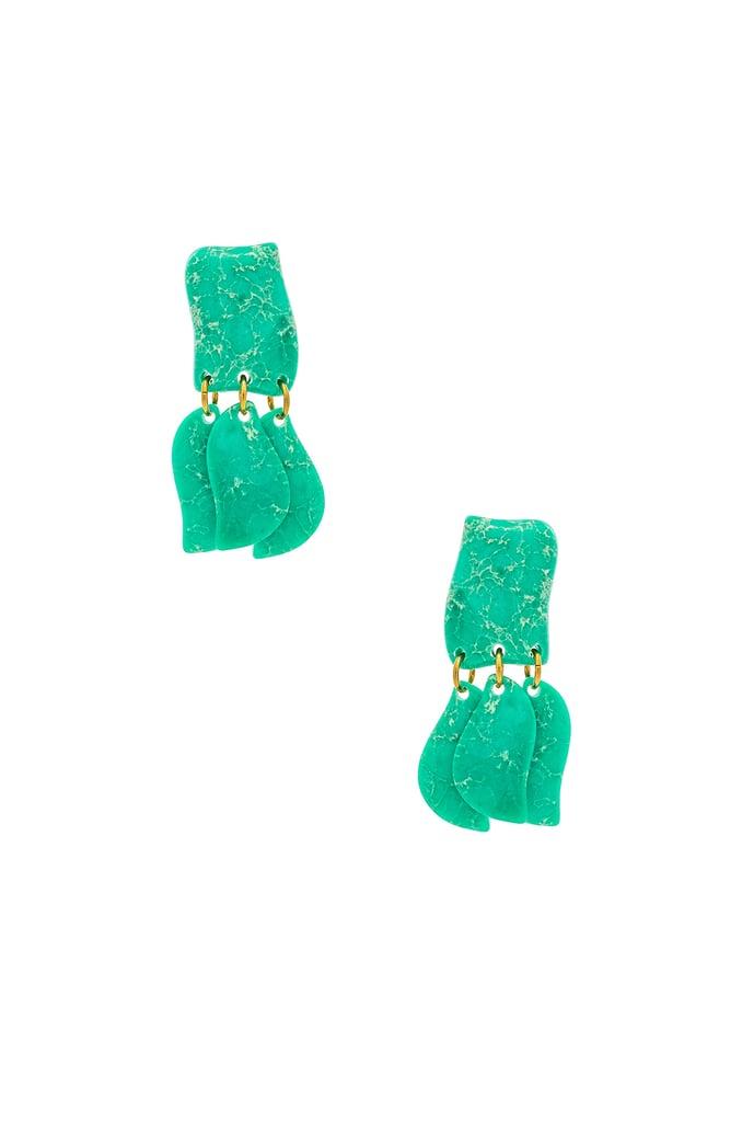 Lele Sadoughi Iris Petal Drop Earrings in Emerald