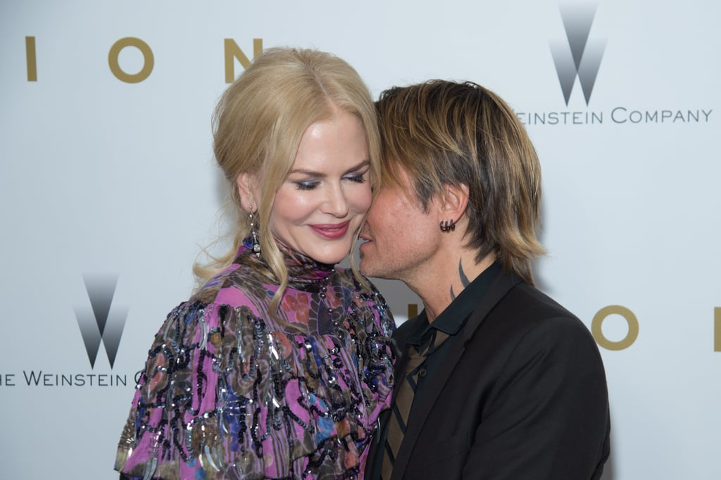 "Nicole Kidman had the support of husband Keith Urban at the Lion premiere in NYC on Wednesday night. The couple, who celebrated 10 years of marriage earlier this year, were as cute as can be as they whispered into each other's ears while posing for photos on the red carpet. The film, which debuts over Thanksgiving weekend, is based on a true story and follows a young boy named Saroo through his early life in India and the aftermath when he becomes tragically separated from his family at age five. Earlier this month, Nicole and Keith attended the CMA Awards in Nashville, TN, where the country singer took the stage for an incredible performance of his hit ""Blue Ain't Your Color.""       Related:                                                                                                           Nicole Kidman and Keith Urban's One-of-a-Kind Romance, in Their Own Words"