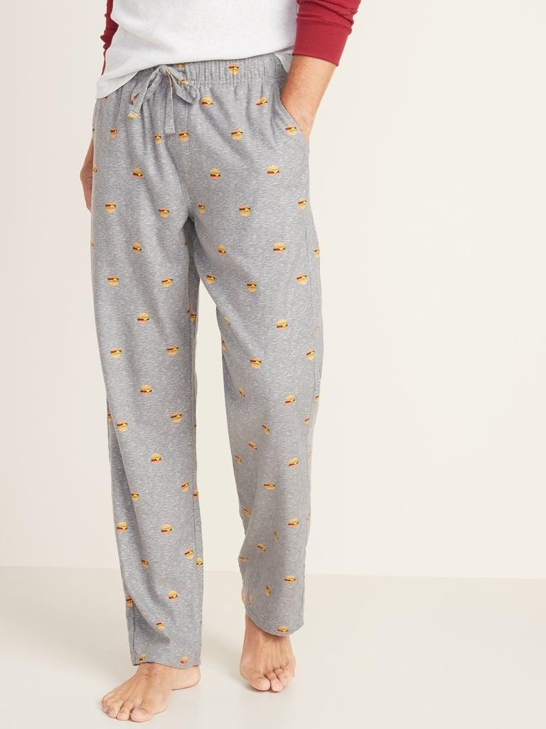 Hamburger-Patterned Flannel Pajama Pants