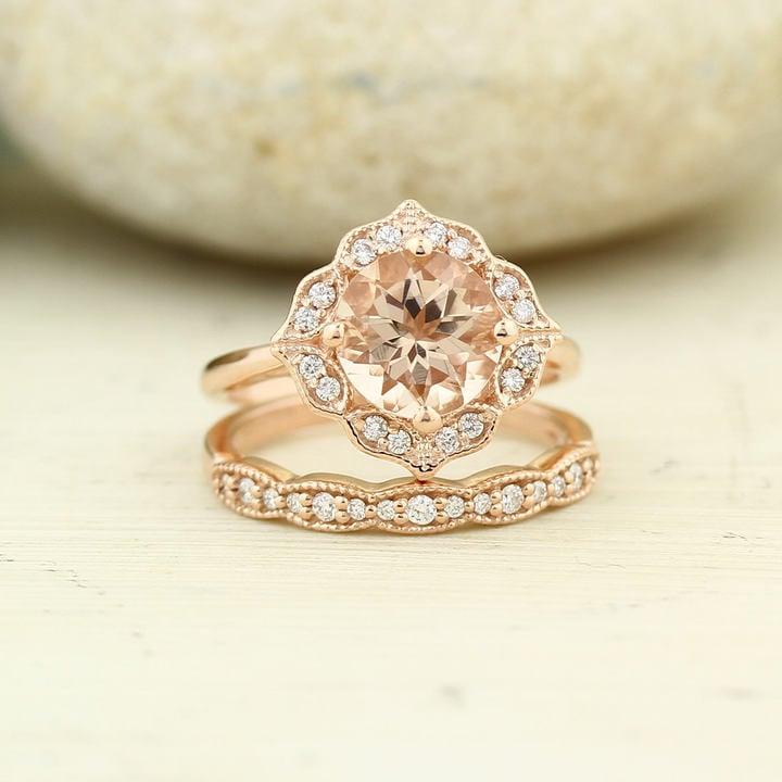 Etsy Bridal Set Floral Design Engagement Ring