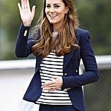 She paired the same blazer with a Ralph Lauren striped shirt and jeans for the SportsAid workshop at the Olympic Park in 2013.