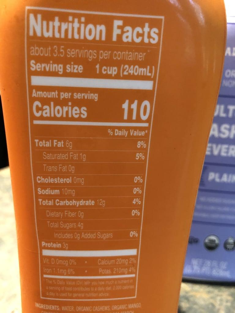 Nutritional Info of Mango Trader Joe's Cultured Cashew Beverage