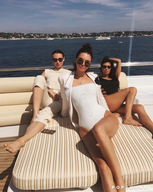8a25c2fa4ced4 Kendall Jenner White Swimsuit With Sleeves | POPSUGAR Fashion Australia