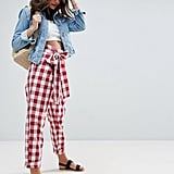 Asos High Waist Paper Bag Gingham Peg Trousers