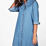 Boohoo Tall Esme Ruffle-Front Denim Shirt Dress
