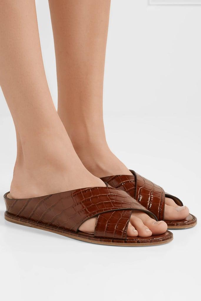 Gabriela Hearst Ellington Croc Effect Leather Wedge Sandals