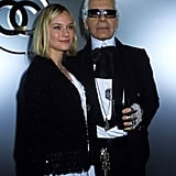 They go way back — Karl and a young Diane Kruger at Paris Fashion Week in 2005.