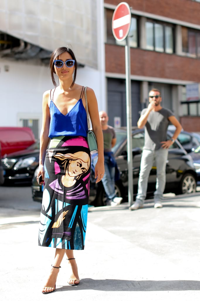 When fashion and art collide on your skirt, keep the rest understated, like so.