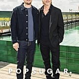Brad Pitt and Leonardo DiCaprio at a Once Upon a Time in Hollywood Photocall in Berlin