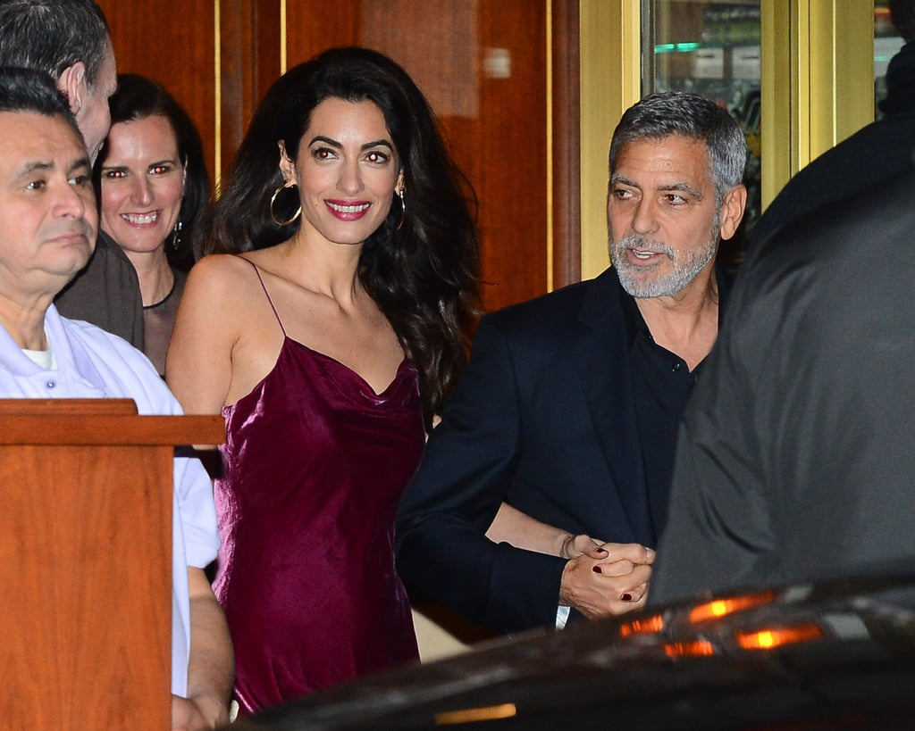 Amal Clooney Red Slip Dress at Jennifer Aniston's Party 2019