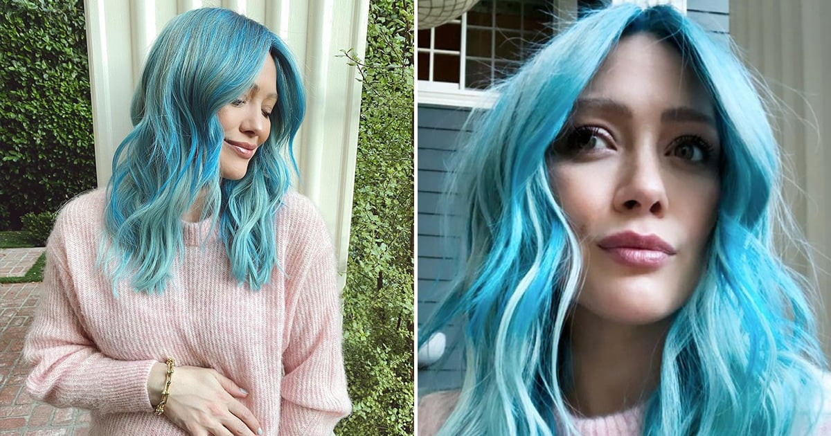 "Hilary Duff Dyed Her Hair Blue at 8 Months Pregnant 'Cause She's ""Gotta Have Fun Somehow"".jpg"