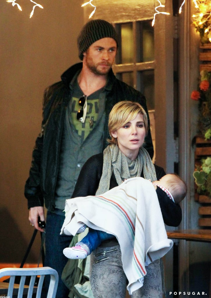 Chris Hemsworth and Elsa Pataky took their daughter India to lunch at Kreation Kafe in Santa Monica yesterday. The trio dined together and then stopped to chat with friends on their way out of the restaurant. Chris, Elsa, and India spent the holidays on the West Coast with Chris's brother Liam and his fiancée Miley Cyrus. Chris and Liam's parents, Leonie and Craig, were also in town. It was India's first Christmas following her birth in May. The arrival of India was just one of many big moments of the year — make sure to vote for the hottest headlines of 2012 before it's too late!