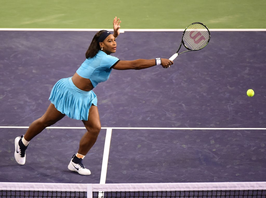 We Loved Serena Williams in This Blue Crop Top at the 2016 BNP Paribas Open