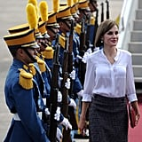 Queen Letizia made a dramatic entrance in Honduras in May.
