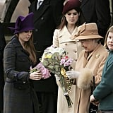 Princess Beatrice and Princess Eugenie are often seen helping the queen carry her flowers.