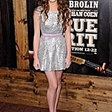 A metallic minidress for the True Grit NYC premiere.