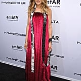 Sarah Jessica Parker wore an avant-garde pink dress to the amfAR New York Gala on Wednesday.