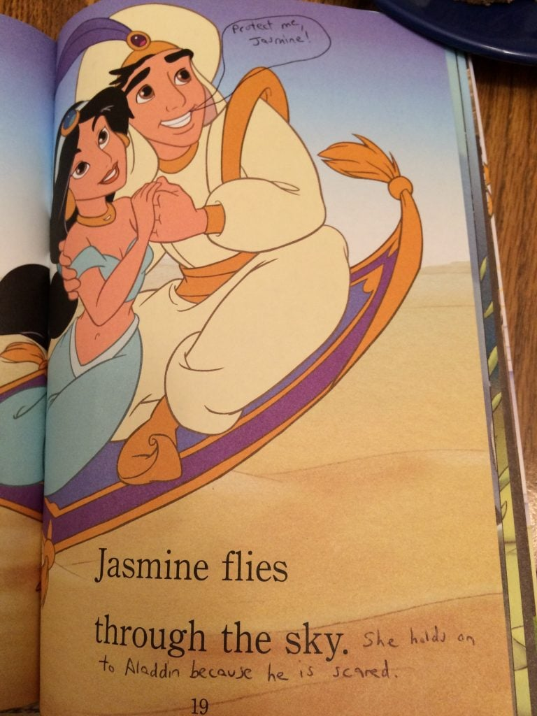 """Jasmine flies through the sky. She holds onto Aladdin because he is scared."""