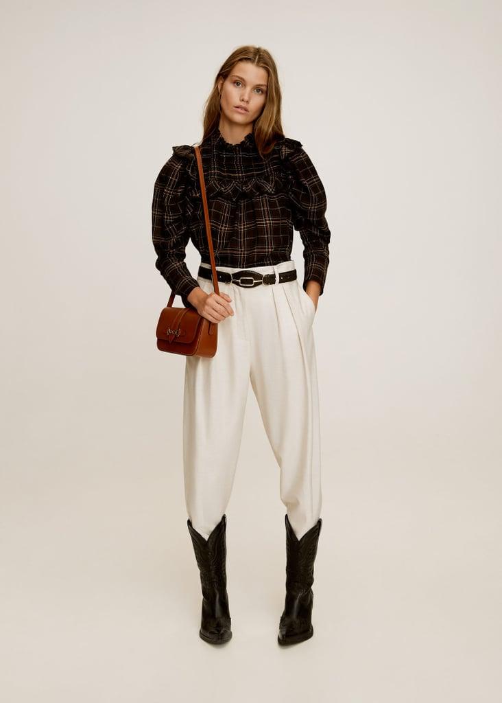 Mango Straight textured trousers