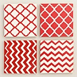 Red and White Resin Coasters – Set of 4 ($13)