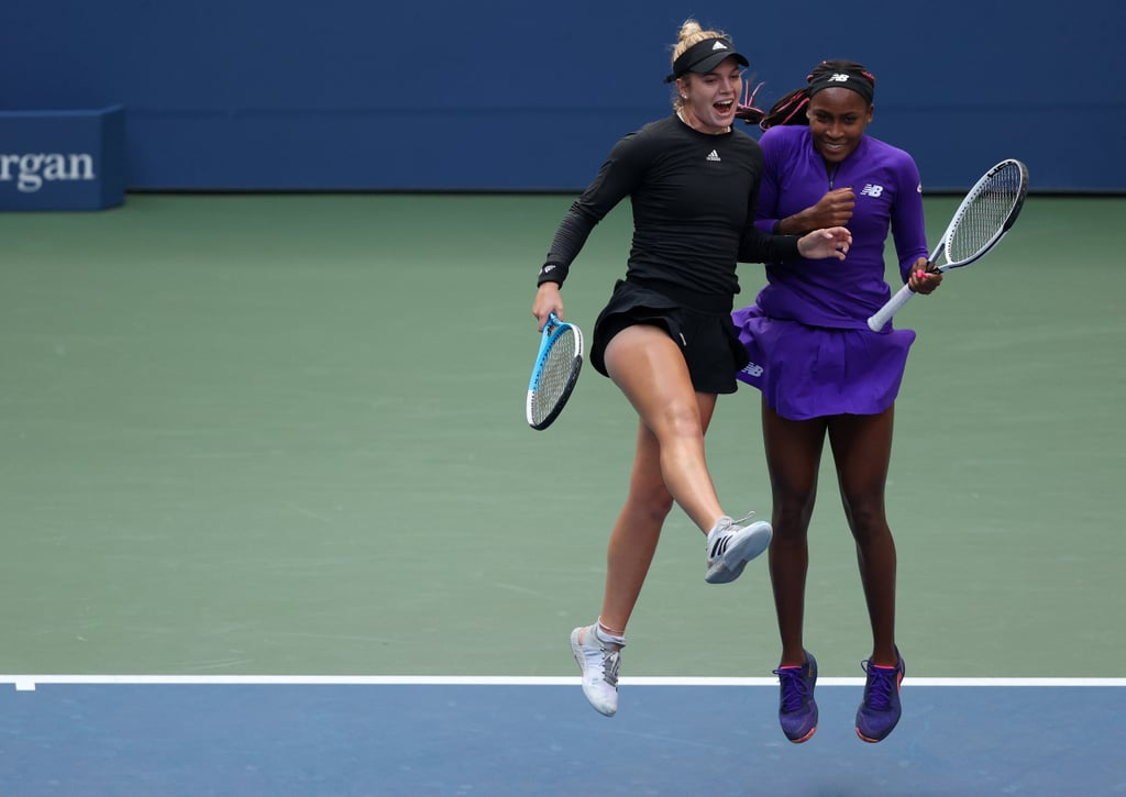 """Tennis stars Coco Gauff and Caty McNally are at the top of their game individually, but as a team, they're even more spectacular. The women's doubles pair has advanced to the semifinals of the US Open after defeating the top-seeded team of Su-Wei Hsieh and Elise Mertens on Aug. 8, part of a contingent of teens who have taken the tournament by storm. """"Age is just a number; it doesn't mean anything,"""" McNally, 19, said following their win. """"We're showing that we're fierce and we're ready to be out here competing with everyone. I just think it's awesome."""" The teen sensations have been playing doubles together for a few years now, racking up three Women's Tennis Association (WTA) titles and repeatedly knocking on the door of a Grand Slam. With their incredible skills on the court — and a close-knit friendship helping to fuel their success — that first major could come any day now. """"The main thing that makes us hard to beat is our chemistry with each other,"""" said 17-year-old Gauff. """"If one of us is off, the other one is always there to cover."""" One thing's for sure: they're fun to watch. Take a look back at some the team's best moments so far — including their playful, signature shoulder bump — in the slides ahead."""