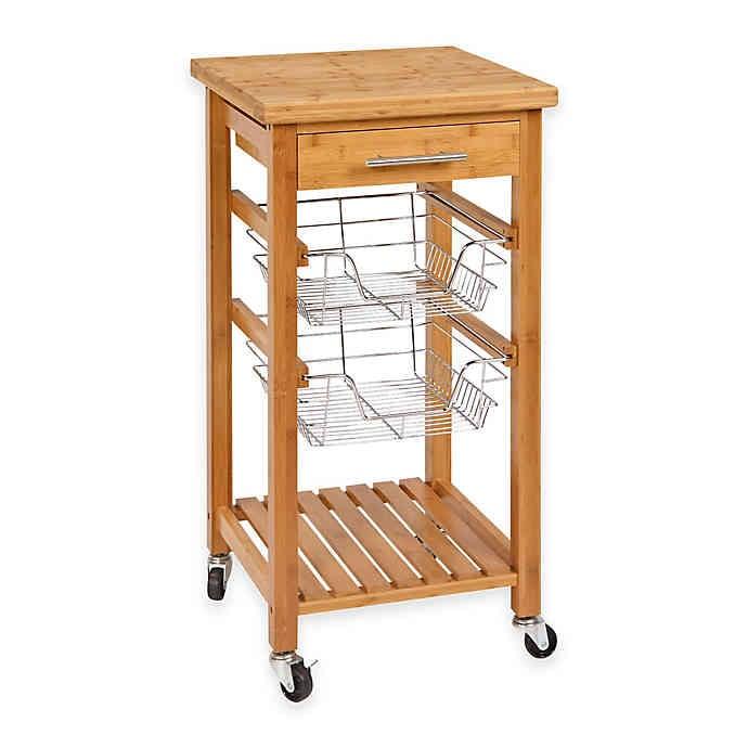 Bamboo Rolling Kitchen Cart With Storage 50 Storage