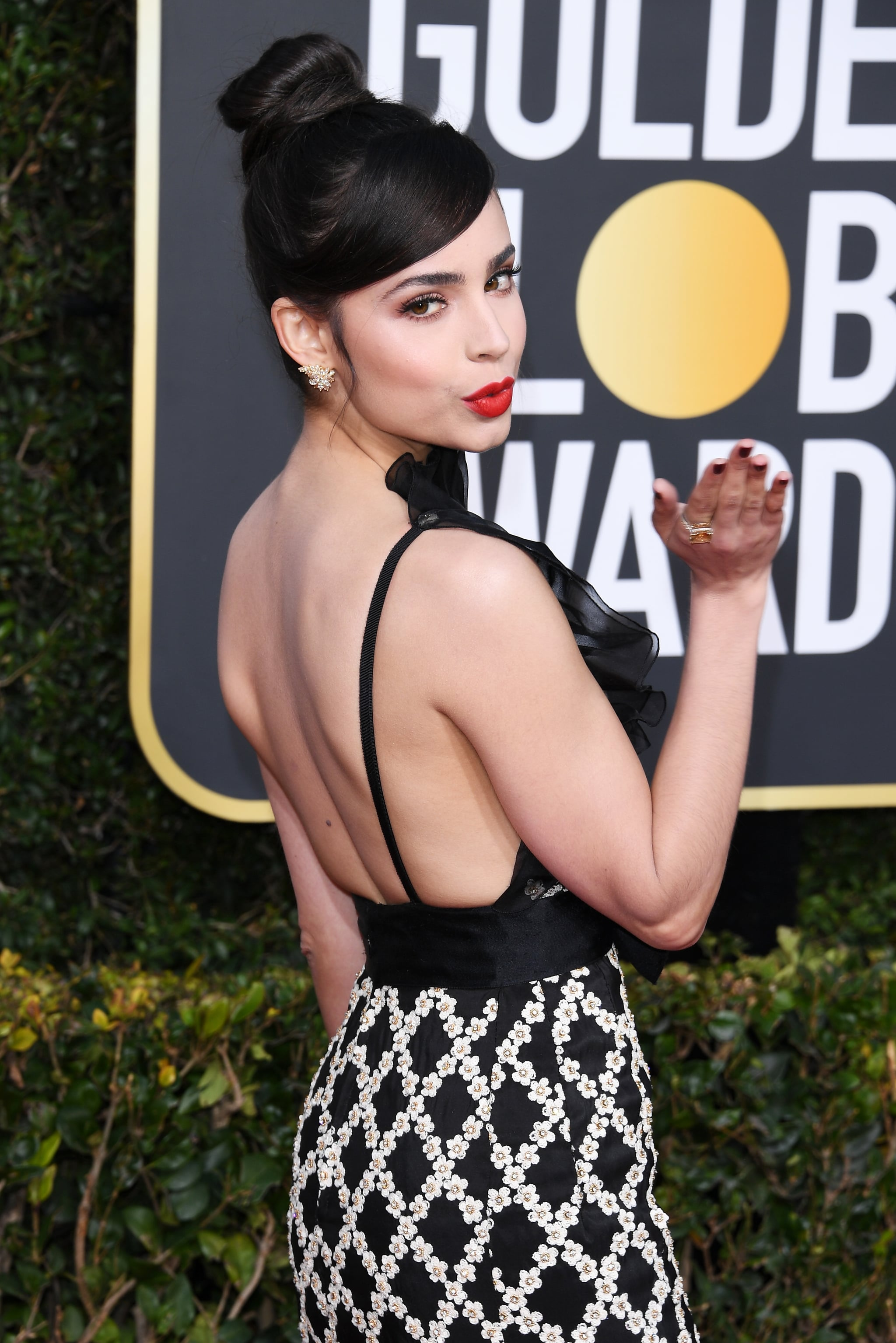 BEVERLY HILLS, CA - JANUARY 06:  Sofia Carson attends the 76th Annual Golden Globe Awards at The Beverly Hilton Hotel on January 6, 2019 in Beverly Hills, California.  (Photo by Daniele Venturelli/WireImage)