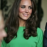 Kate Middleton in a green DVF dress in LA.