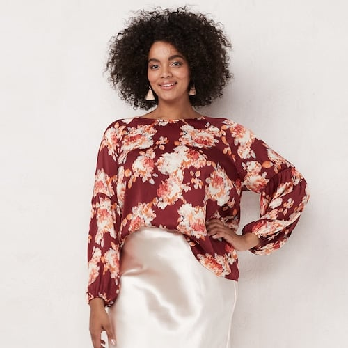 LC Lauren Conrad Plus Size Bell Sleeve Blouse | Cute Cheap