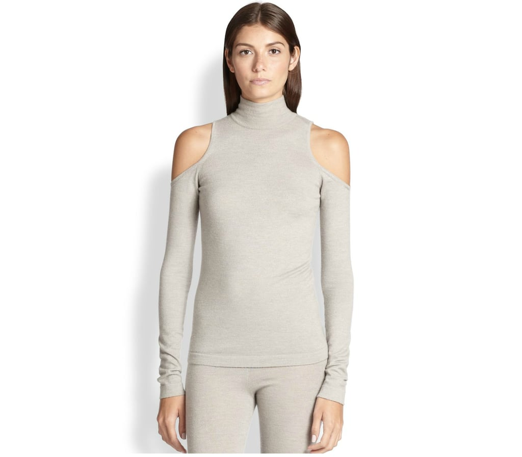Donna Karan Cold-Shoulder Turtleneck Sweater
