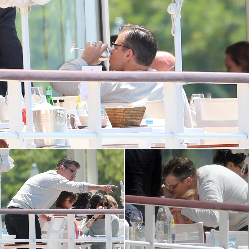 Matt Damon Unwinds With His Girls and a Glass of White