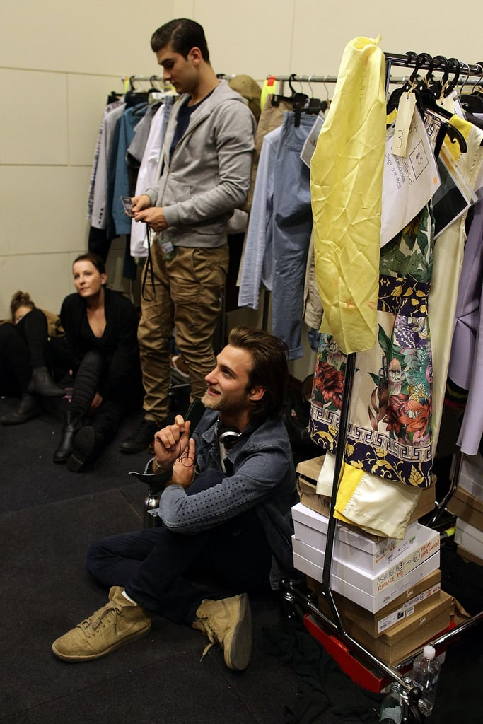 Some more male models backstage.