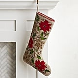 Embroidered and Beaded Poinsettia Stocking ($30)