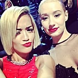 Once inside, Rita Ora made a quick change to red. Source: Instagram user ritaora