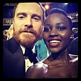 "Lupita Nyong'o took a ""loser selfie"" with Michael Fassbender at the BAFTAs. Source: Instagram user lupitanyongo"