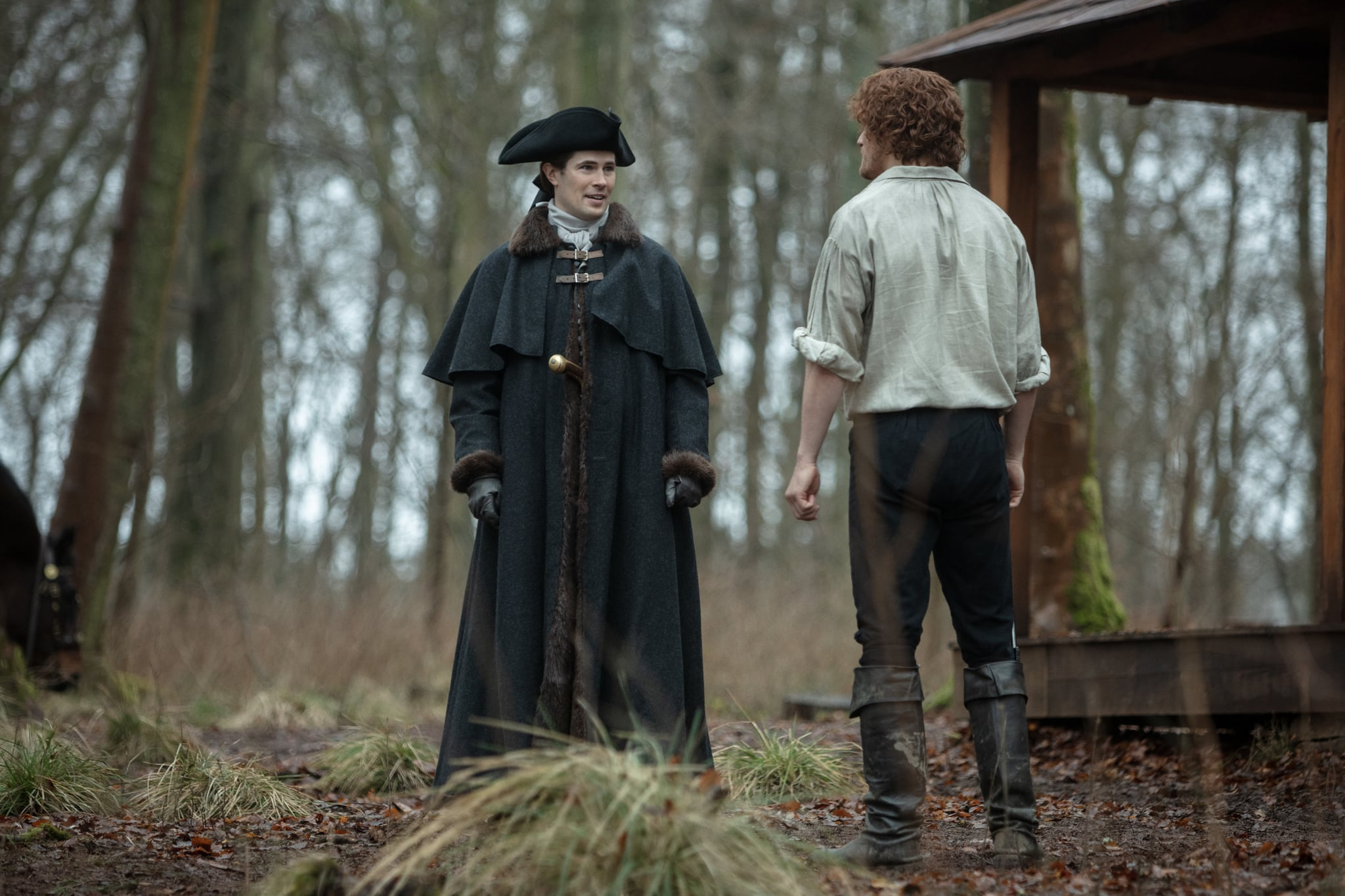 "Lord John Grey (David Berry) and Jamie Fraser (Sam Heughan) in the Outlander episode ""Blood of My Blood."""