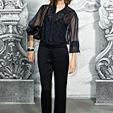 Sofia Coppola carried off a sheer, monochromatic look at the Chanel show.