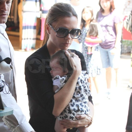 Victoria Beckham packed up the car with the kids and headed to The Grove in LA on Sunday. It was Victoria's second outing with two-month-old Harper in less than a week. Big brothers Romeo, Cruz, and Brooklyn took a break from their daily surfing sessions with David and accompanied the girls on the trip to the mall. The group of five went to the movies then dropped in at the Apple store. Posh also reportedly browsed at the baby boutiques, either shopping for Harper or getting a present for her fellow Spice Girl Mel B's five-day-old daughter. Victoria got more exciting news this morning — she was nominated for a British Fashion Award, with her Victoria Beckham Collection going up against Burberry, Stella McCartney and Tom Ford for designer brand of the year.  David was absent for the latest retail adventure. The dad of four left town in order to play in yesterday's match in Kansas City against their Sporting team. The LA Galaxy tied Kansas 2-2, but David and his squad will have a chance to redeem themselves on Friday when they play at home against the Colorado Rapids. Victoria's missed out on David's most recent games, but Cruz, Romeo, and Brooklyn have cheered for David recently with family friend Gordon Ramsay.