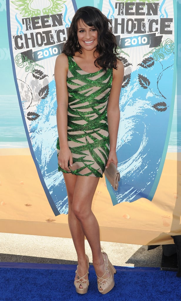 Lea went short and sweet again in a cool Naeem Khan mini and nude heels at the 2010 Teen Choice Awards.