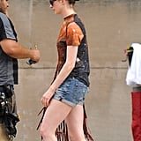 Anne Hathaway wore short shorts on set.