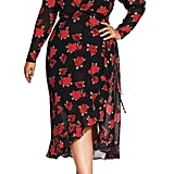 City Chic Passion Floral Long Sleeve Wrap Dress